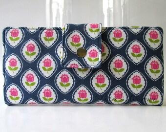 Handmade women wallet - Sweet pink tulips - tulips on white cameo - Delicate purse - Custom order