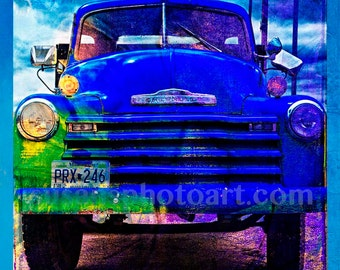 Blue Chevy Truck, digital photo, home decor, wall art, office art, retro, men's gift, home decor, old truck, dad's gift, nostalgia, colorful