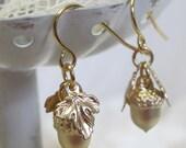 Petite Gold-Plated Acorn Earrings, Civil War Appropriate