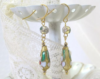 Golden Enameled Drop Earrings, Gold-Plated Earwires--Victorian, Civil War Appropriate