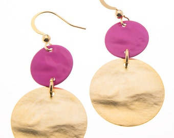 Could you use a COLOR KICK? Check out these round tiered earrings! variations - pink - red- blue - green - black - gold - gift for her