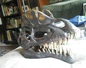 Dilophosaurs Skull Sculpture hand built by NW artist Michael Gonzales