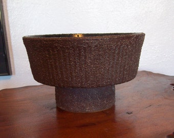 Textured Japanese Barker Bros. Footed Ikebana with a Royal Blue glaze Vessel / Vase