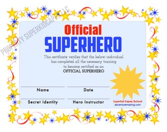 SUPERHERO CERTIFICATE Instant PRINTABLE - Download and print this certificate after purchase - Superhero party printable - party favor