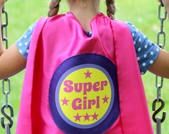 Ships Fast - SIBLING GIFT - Super Girl Superhero Cape - Big sister gift - new baby - Opition to add custom name