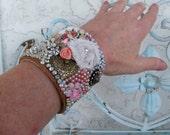 Women's wide cuff bracelet, gypsy chic,OOAK, pearl bead cuff, festival wedding, bohemian jewelry, boho chic, eclectic bracelet, adjustable,