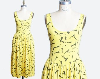 80s Graphic Print Dress / Midi Dress / Abstract Print Dress / xs s