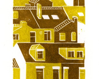 Terraces 2-colour linocut print in yellow and brown