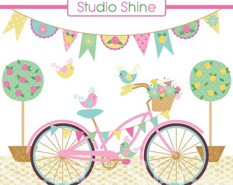 Digital Clipart - Lovely Day for a Ride - Cute bird clipart, digital clip art, bicycle, travel - Instant Download Clipart Commercial Use