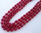 Brand New, Dyed Natural Ruby Faceted Full Drilled Drops Shape Briolettes,6-9mm Size,Full 9 Inch Strand,