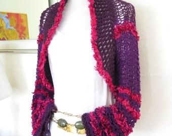 Purple plum knit cardigan, modern knit shrug. shades of plum sweater, modern knitwear