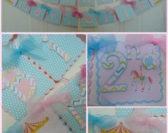 Carousel Horse Happy Birthday banner/Name banner
