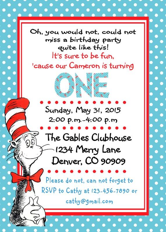 Dr Seuss 1St Birthday Invitations gangcraftnet