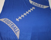 Glitter laces football tee or tank--Personalized with your team name and colors-lots of sparkle in this mega design
