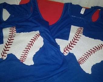 State Baseball Shirt, Big State GLITTER Baseball Design, Baseball Mom Shirt, Bling Baseball Tank,State Baseball Tee, Texas State Baseball