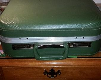 Vintage Olive Green Suitcase