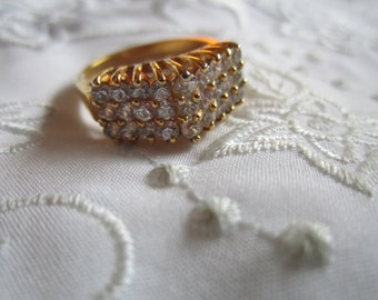 Vintage Triple Row of Clear Faceted Rhinestoned Ring
