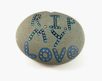 Pet Grave Marker, Grave Marker, Hand Painted Rock, Memorial Grave Stone, RIP My Love, Handmade, Made in the USA