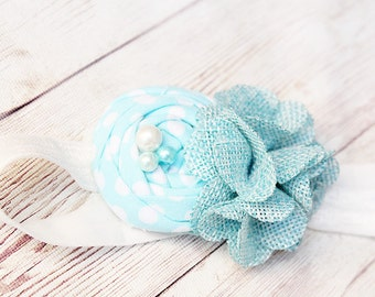Blue Skies- rosette and burlap bloom headband in white and sky blue