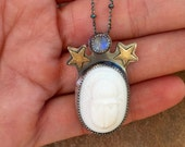 Guinevere, Scarab and Moonstone Necklace.
