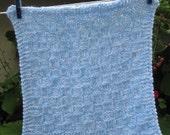 Custom order for Lisa, knit Mini blanket, acrylic yarn (blue and white)