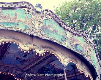 Paris Carousel, Fine Art Photography, Photograph, Photo, Paris, Ride, Travel, Mint, Antique, Vintage, Retro, French, Painting, Art, Decor
