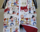 Car Seat Canopy In Michael Miller Lil' Cowpokes Collection with Zipper Opening