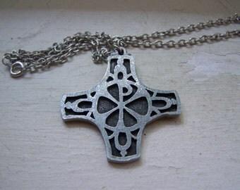 Pewter Metzne 1974 Cutout Cross  Necklace
