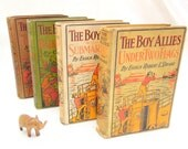 vintage boy books.four.FREE SHIPPING.WW I.Allies.early 1900's.historical.man gift.boy gift.collectible.tessiemay vintage