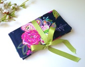 Navy Pink Floral Jewelry Roll. Travel Accessory. Jewelry Organizer. Colorful Jewelry Case. Custom Bridesmaid Gift. Modern Flowers and Birds