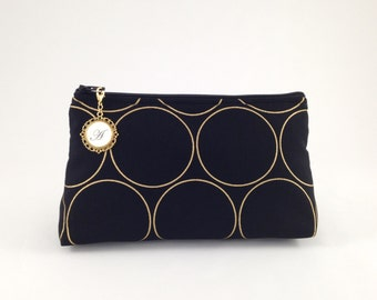 Black and Metallic Gold Modern Circles Monogrammed Zipper Clutch | Cosmetic or Makeup Bag | Custom Bridesmaid Gift | Nightfall Fabrics