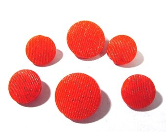Red Glass Buttons West Germany VINTAGE Red Textured Glass Gold Luster Six (6) Red Glass Vintage Buttons Jewelry Sewing Supplies (Y86)