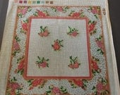 vintage needlepointkit unfinished pillow front Bucilla Janis Nichole Antique Floral 14 inches sq yarn included.