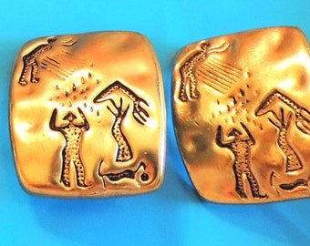Tribal Vintage Earrings Gold Artsy Clip On Jewelry