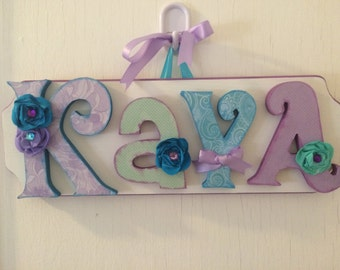 Custom Kids Name Sign - Nursery Wall Letters Name Sign - Custom Children's Shabby Chic Name Plaque 3-4 Letters