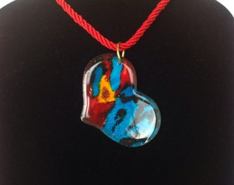 Hand painted colorful necklace