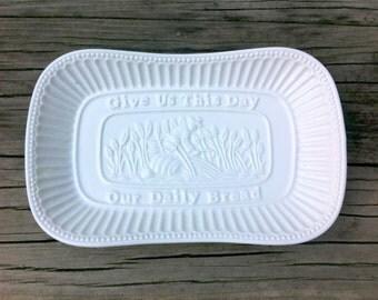 Vintage Ceramic Small White Platter, Bread Dish, Give Us This Day Prayer, Say Grace, Godinger