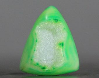 SALE - Green Druzy Stone Cabochon, Triangle (9819)