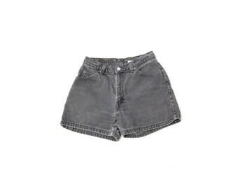 Charcoal grey high waist denim shorts LEVIS 1990s 90s VINTAGE