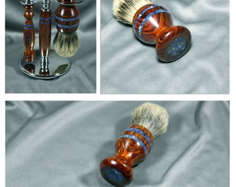 Personalized engraving Mach 3 wet shaving kit razor brush badger hair steampunk wood men's gifts birthday father's day Gillette CUSTOM ORDER