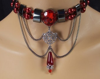 Red Choker Glitter Pearls Faceted Glass Focal Teardrop Pewter Filigree Chain Swags Hematite Spacers Downton Abbey Inspired Gothic Choker