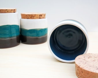 Ceramic Kitchen Canisters with Cork Lids - White + Turquoise + Black