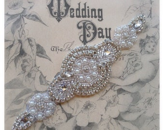 Bridal Applique with Beads and Rhinestones