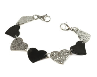 Stainless Steel Silver & Black Solid Hearts, Interchangeable Bracelet Strand, Ai8-S