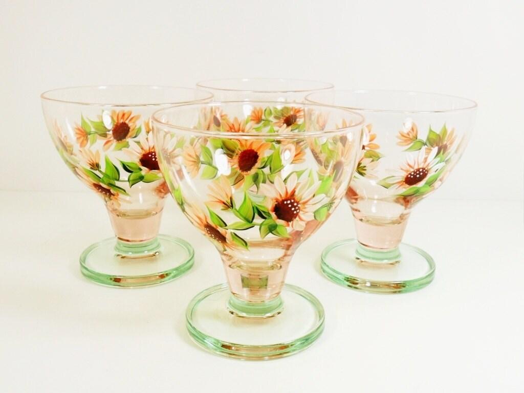 Dessert bowls hand painted ice cream bowls orange sherbet daisy dessert bowls hand painted ice cream bowls orange sherbet daisy flower designs set of 4 izmirmasajfo
