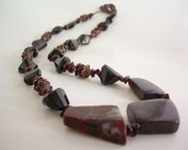 Smoke And Embers Necklace ~ Stone Jewelry, Jasper, Garnet, Spinel, Gemstone Jewelry, Natural Jewelry, Gift for Her