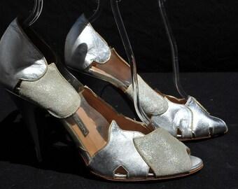 Vintage 70's MAUD FRIZON silver disco shoes pumps 7 1/2 us 30 eu leather and vinyl Patchwork by thekaliman