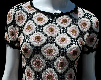 Vintage 70's hand crocheted home made top blouse sexy see through crochet blouse top short cropped sM by thekaliman