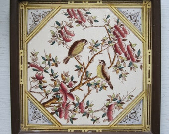 An Original Victorian Framed Tile of Birds Perching on Flowering Branches - a real collectors item