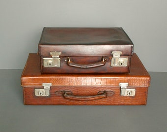 Vintage Suitcase - Vintage Luggage - Brown Crocodile Effect Leather Suitcase from England-Circa 1920's